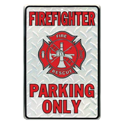 Firefighter Parking Only Metal Parking Sign