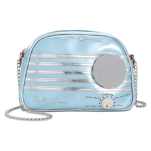Betsey Johnson Kitsch Blue Retro Radio Shoulder Bag
