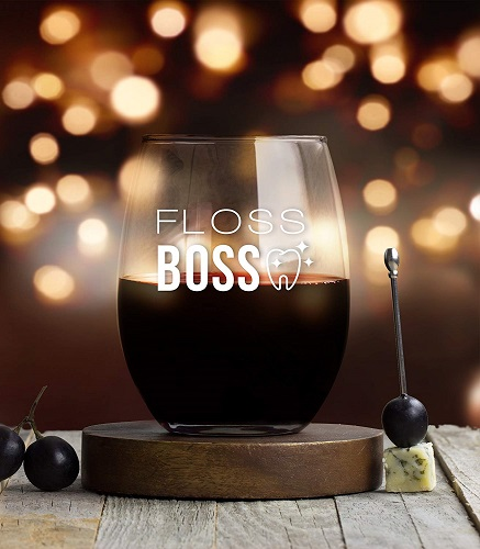 Floss Boss Wine Glass