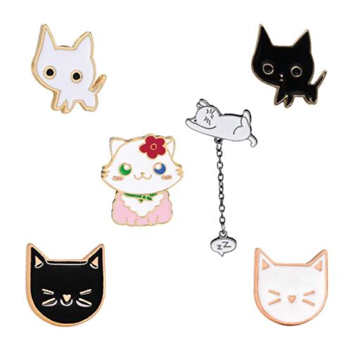 Cute Cat Enamel Lapel Pin Set