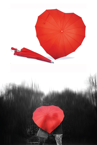 Forever Love Red Heart-Shaped Umbrella