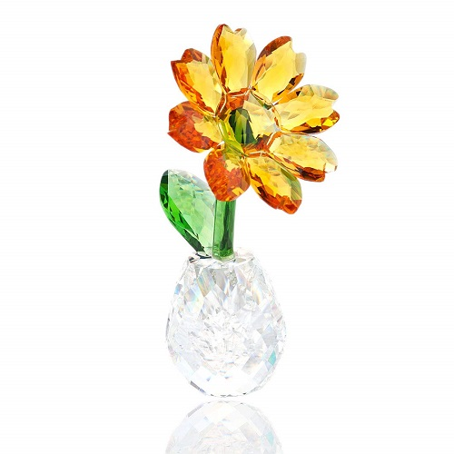 H&D Crystal Sunflower Figurine