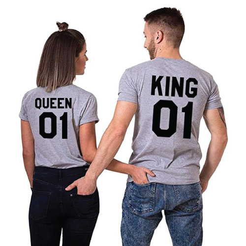King Queen Matching Couple T-Shirts