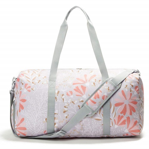 Jadyn B Gray Floral Travel Duffel