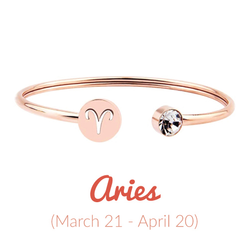 Rose Gold Aries Zodiac Sign Cuff Bracelet