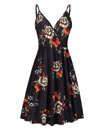 STYLEWORD V Neck Floral Swing Dress