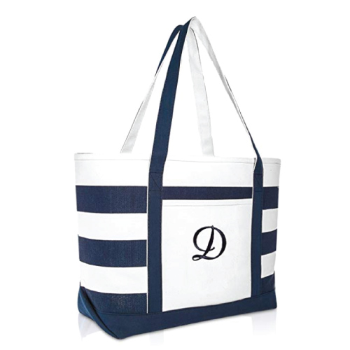 DALIX Striped Monogrammed Tote