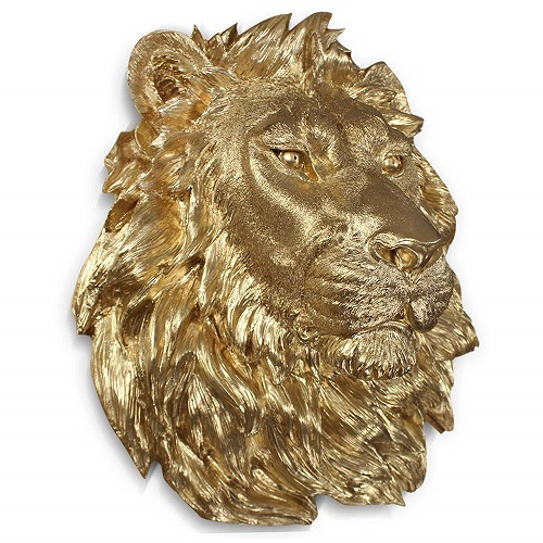 Gold Lion Head Wall Hanging