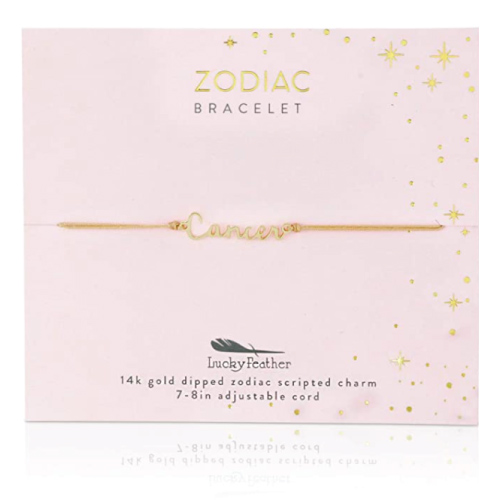 Lucky Feather Cancer Zodiac Bracelet