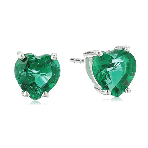 Heart Shape Emerald Gemstone Stud Earrings