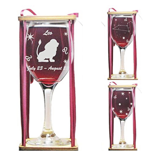 Leo Astrological Sign Wine Glass