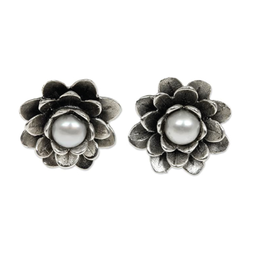 NOVICA Pearl Water Lily Earrings