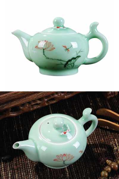 Handcrafted Water Lily Porcelain Tea Pot