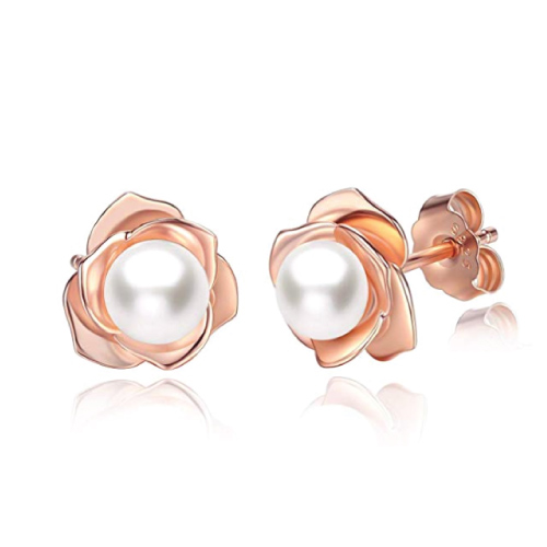 Jora Rose Flower & Pearl Stud Earrings