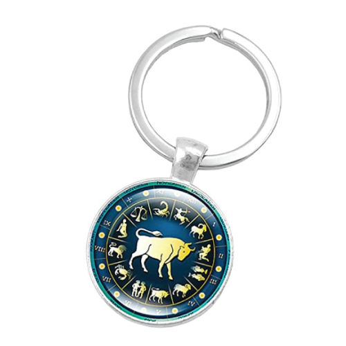 Retro Zodiac Sign Key Chain