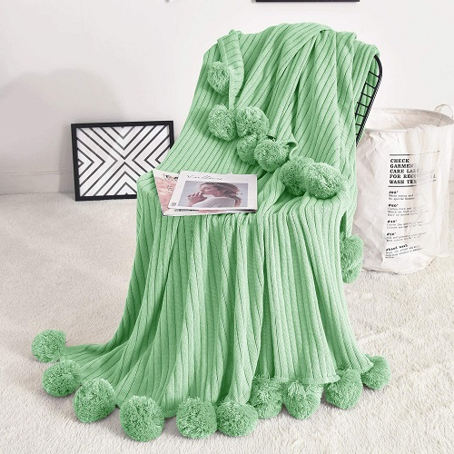 Mint Green Pom Pom Throw Blanket