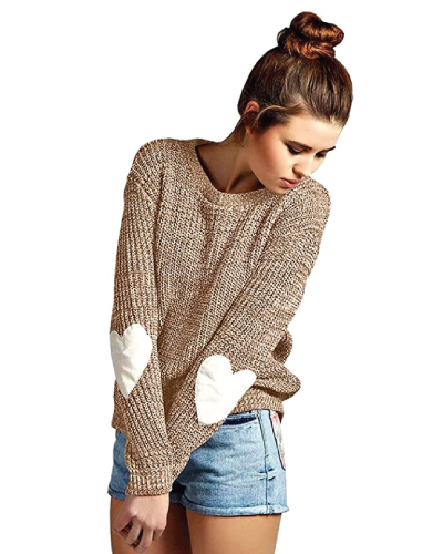 Heart Elbow Patch Pullover Sweater
