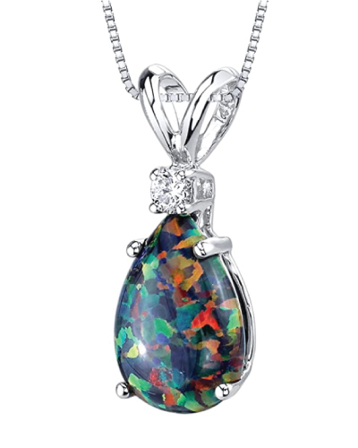 Peora 14K White Gold Black Opal Necklace