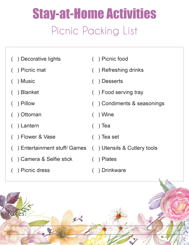 Stay at Home Picnic Checklist