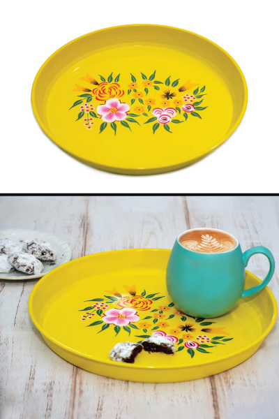 Hand Painted Round Platter Tray