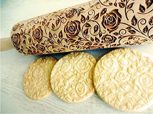 Damascus Roses Embossed Rolling Pin