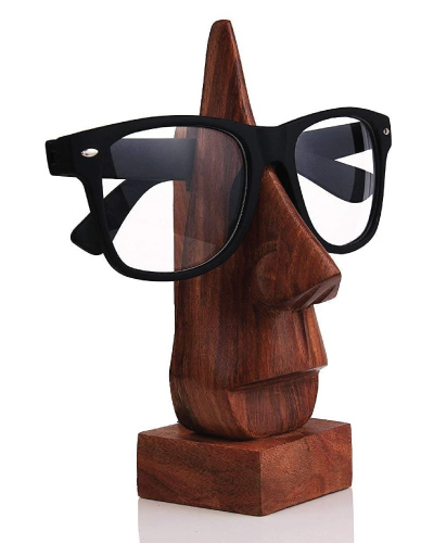 Wooden Nose Shaped Eyeglass Holder