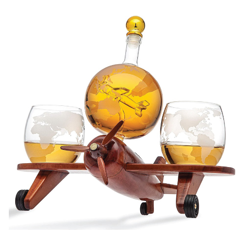 Godinger Whiskey Decanter Airplane Globe Set