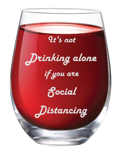 Social Distancing Stemless Wine Glass