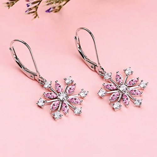 Pink snowflake earrings