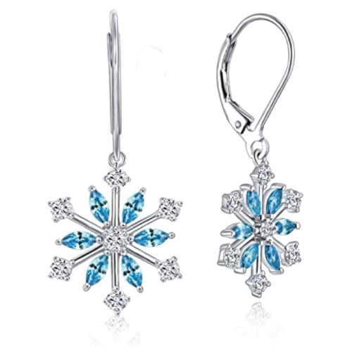 Snowflake Leverback Dangle Earrings