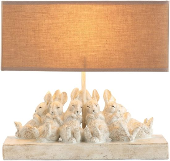 Whitewashed Rabbit Table Lamp