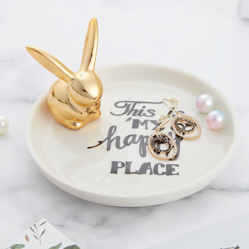 Ceramic Rabbit Bunny Ring Holder
