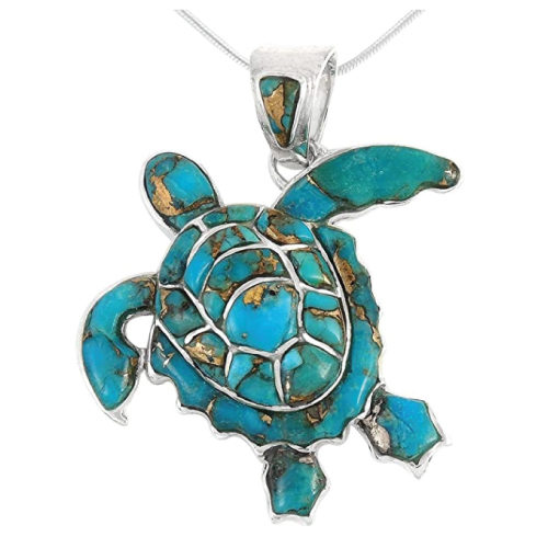Turquoise Network Turtle Pendant Necklace