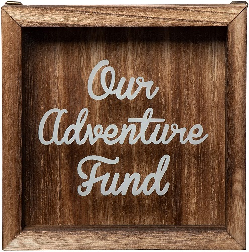 Our Adventure Fund Wooden Shadow Box Bank