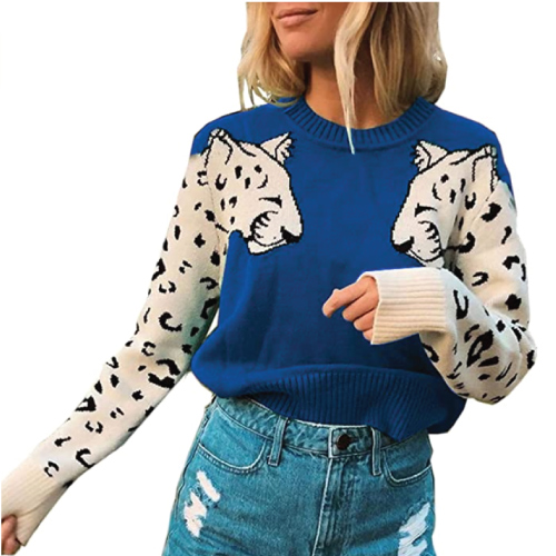 Angashion Leopard Printed Patchwork Pullover Sweater