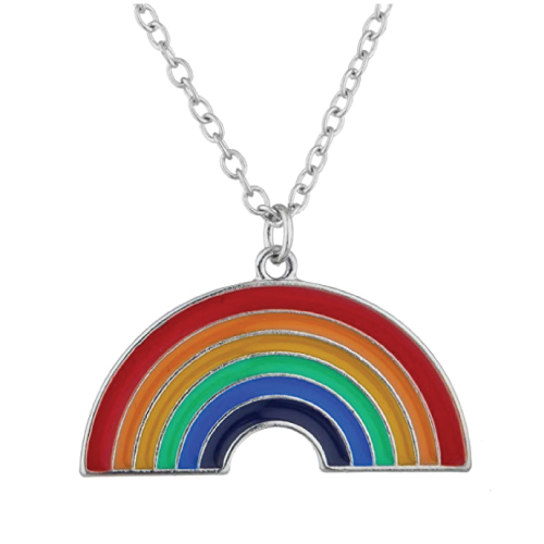 Lux Accessories Rainbow Pendant Necklace