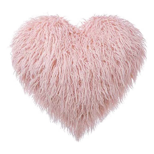 Heart Shaped Mongolian Faux Fur Throw Pillow