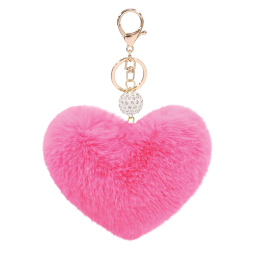 eart Faux Fur Pom Pom Key Chains