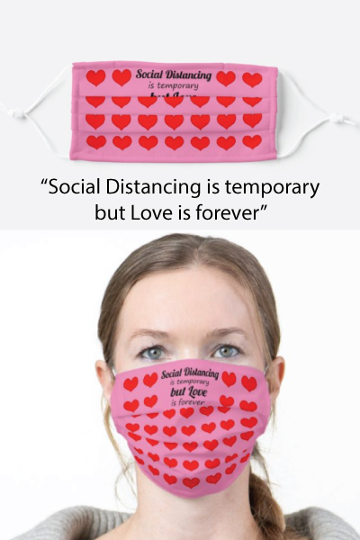 Love is Forever Heart Pattern Adult Cloth Face Mask