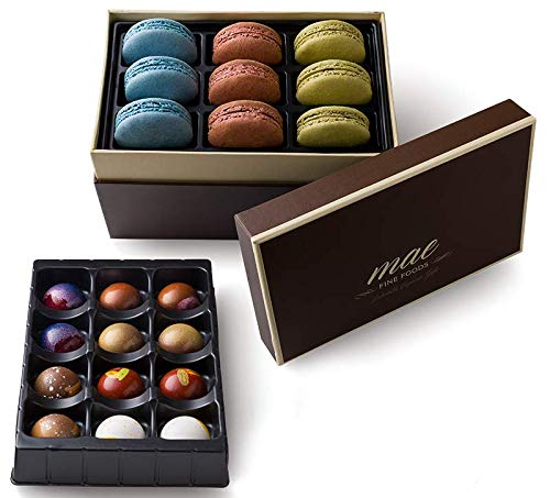 Gourmet Chocolate Bonbons and French Macarons Gift Set